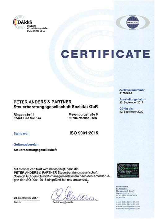 Zertifikat Peter Anders & Partner Steuerberatungsgesellschaft mbH ISO 9001:2015